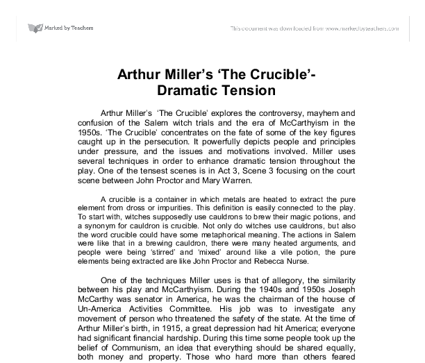 how does arthur miller create tension in act 3 of the crucible Act two act three why does arthur miller use allegory in the crucible arthur miller uses allegory in his play create a free website.