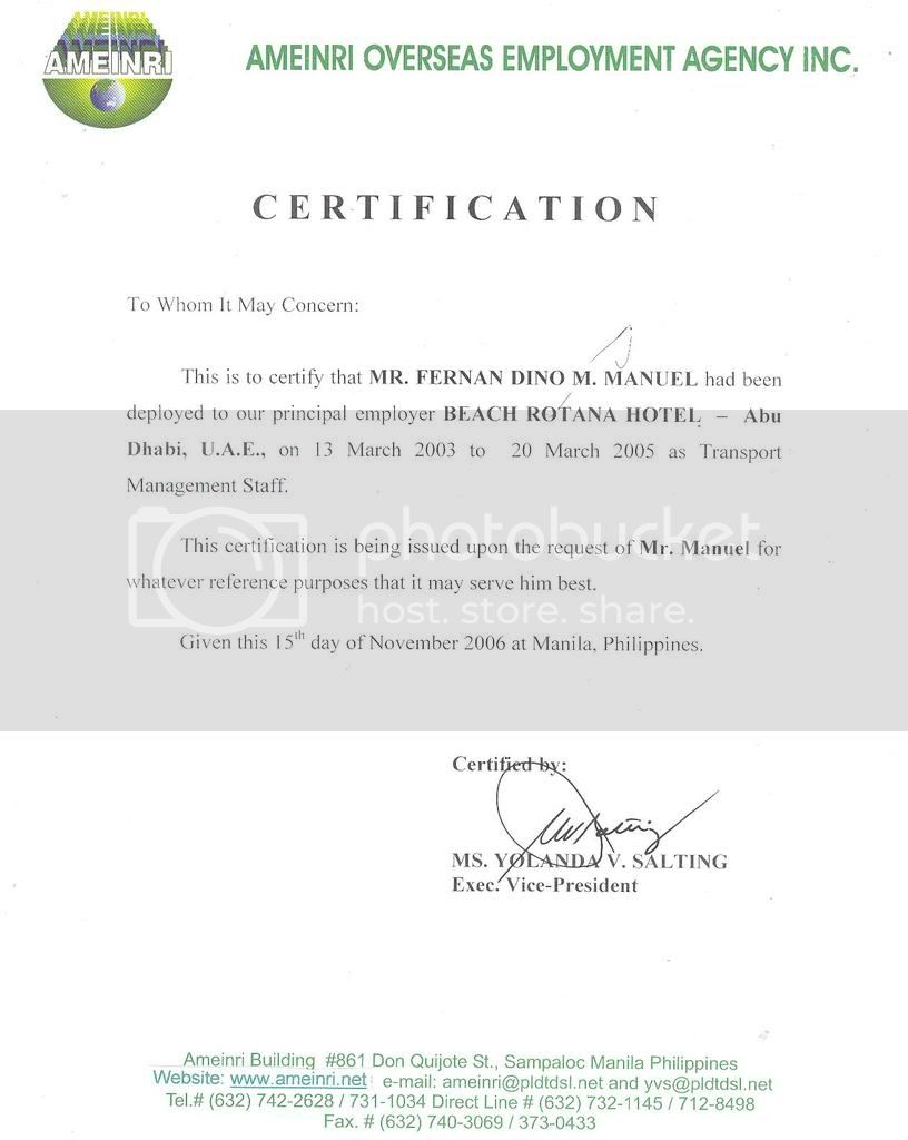 employee service certificate format